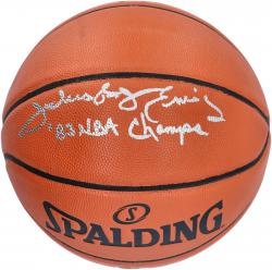 "Julius Erving Autographed Spalding Indoor Outdoor Basketball with ""1983 NBA Champs"" Inscription"