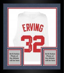 "Framed adidas Julius Erving New Jersey Nets Autographed Swingman Jersey with ""Dr. J"" Inscription - White"