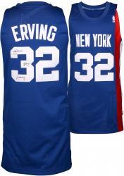Julius Erving New York Nets Autographed Adidas Swingman Blue Jersey