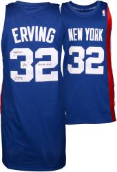 "Julius Erving New York Nets Autographed Adidas Swingman Blue Jersey with ""3X ABA MVP"" Inscription"