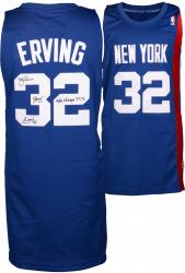 "Julius Erving New York Nets Autographed Adidas Swingman Blue Jersey with ""74 &76 ABA Champs"" Inscription"