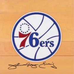 Julius Erving Philiadelphia 76ers Autographed 12'' x 12'' Floor Piece
