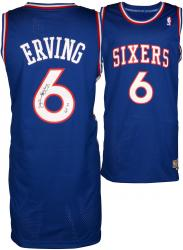 "Julius Erving Philiadelphia 76ers Autographed Adidas Swingman Blue Jersey with ""HOF 93"" Inscription"