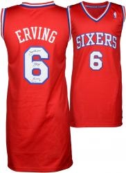 Julius Erving Philiadelphia 76ers Autographed Adidas Swingman Red Jersey