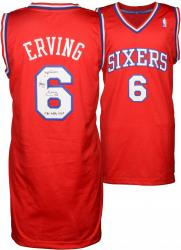 "Julius Erving Philiadelphia 76ers Autographed Adidas Swingman Red Jersey with ""1981 NBA MVP"" Inscription"