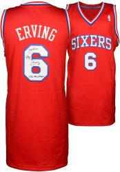 "Julius Erving Philiadelphia 76ers Autographed Adidas Swingman Red Jersey with ""1983 NBA Champs"" Inscription"