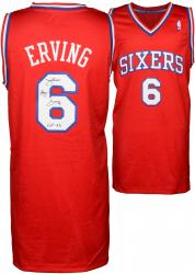 "Julius Erving Philiadelphia 76ers Autographed Adidas Swingman Red Jersey with ""HOF 93"" Inscription"