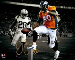 Julius Thomas Denver Broncos Autographed 11'' x 14'' Spotlight Touchdown Extension Over Pylon vs. Indianapolis Colts Photograph Signed in Orange Ink