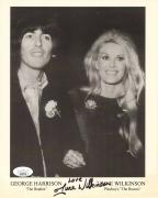 JUNE WILKINSON HAND SIGNED 8x10 PHOTO      RARE POSE WITH GEORGE HARRISON    JSA