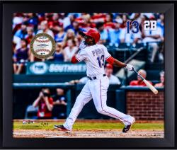 Jurickson Profar Texas Rangers Framed 20'' x 24'' Gamebreaker Photograph with Game-Used Ball - Mounted Memories