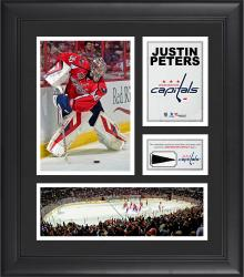 """Justin Peters Washington Capitals Framed 15"""" x 17"""" Collage with Piece of Game-Used Puck"""