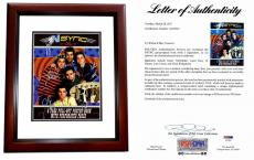 Justin Timberlake, JC Chasez, Lance Bass, Joey Fatone, and Chris Kirkpatrick Signed - Autographed 'Nsync 11x14 inch Photo Book Cover - NO STRINGS ATTACHED - MAHOGANY CUSTOM FRAME - PSA/DNA Certificate of Authenticity (COA) - FULL Letter