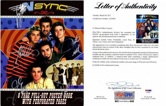 Justin Timberlake, JC Chasez, Lance Bass, Joey Fatone, and Chris Kirkpatrick Signed - Autographed NSYNC 11x14 inch Photo Book - NO STRINGS ATTACHED Tour Book - PSA/DNA Certificate of Authenticity (COA) - FULL Letter