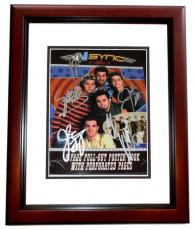 Justin Timberlake, JC Chasez, Lance Bass, Joey Fatone, and Chris Kirkpatrick Signed - Autographed 'Nsync 11x14 inch Photo Cover - NO STRINGS ATTACHED - MAHOGANY CUSTOM FRAME - Guaranteed to pass PSA or JSA