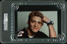 Justin Timberlake NSYNC Signed 4x6 Autographed PSA/DNA Slabbed