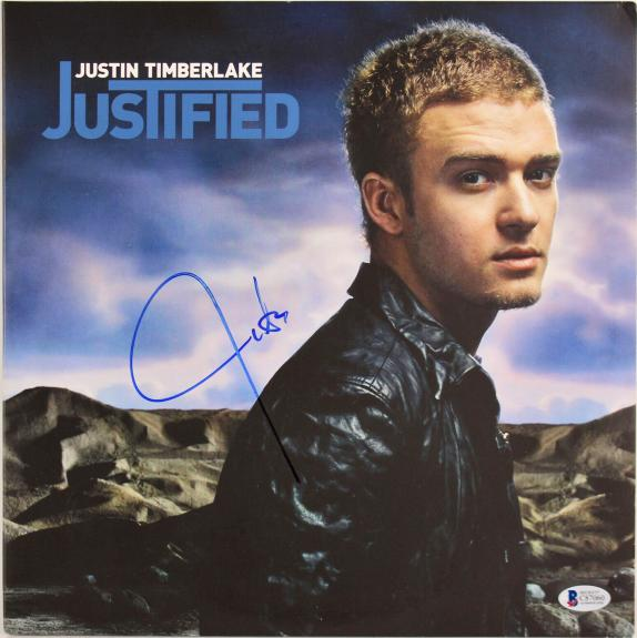 Justin Timberlake Signed Justified Album Cover W/ Vinyl BAS #C87060
