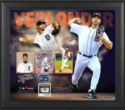 Justin Verlander Detroit Tigers Framed 15'' x 17'' Collage with Game-Used Ball - Limited Edition of 500 - Mounted Memories