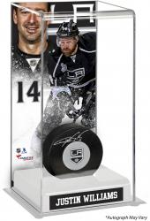 Justin Williams Los Angeles Kings Autographed Puck with Deluxe Tall Hockey Puck Case