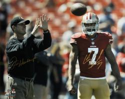 "Colin Kaepernick & Jim Harbaugh San Francisco 49ers Autographed 16'' x 20"" Horizontal Throw Photograph - Mounted Memories"