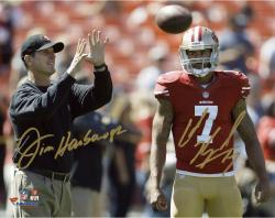 "Colin Kaepernick & Jim Harbaugh San Francisco 49ers Autographed 8'' x 10"" Horizontal Throw Photograph-Limited Edition of 7 - Mounted Memories"