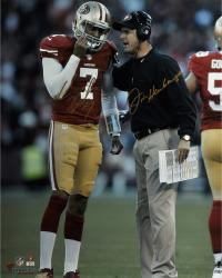 "Colin Kaepernick & Jim Harbaugh San Francisco 49ers Autographed 16'' x 20"" Vertical Talking Photograph - Mounted Memories"