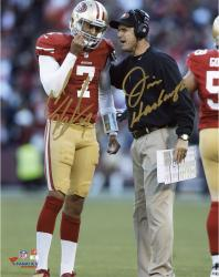 "Colin Kaepernick & Jim Harbaugh San Francisco 49ers Autographed 8'' x 10"" Vertical Talking Photograph - Mounted Memories"