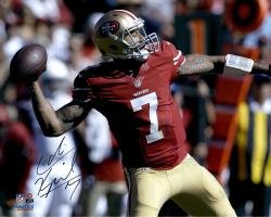 Colin Kaepernick San Francisco 49ers Autographed 16'' x 20'' Red Uniform Throwing Photograph - Mounted Memories