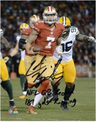 Colin Kaepernick San Francisco 49ers Autographed 8'' x 10'' Photograph with ''NFL QB Record/181 Yds Running'' Inscription - Mounted Memories
