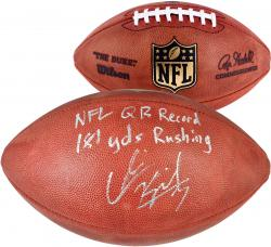 "Colin Kaepernick San Francisco 49ers Autographed Football with ""NFL QB Record/181 Yds Running"" Inscription"