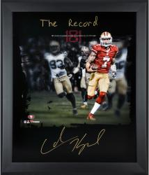 Colin Kaepernick San Francisco 49ers Framed Autographed 20'' x 24'' In Focus Photograph with The Record Inscription - Mounted Memories