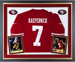 Colin Kaepernick San Francisco 49ers Autographed Deluxe Framed Nike Red Authentic Jersey