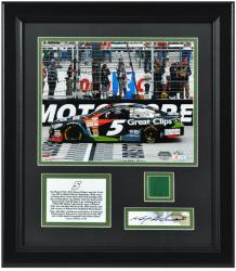 Kasey Kahne 2013 Food City 500 Winner Framed 8'' x 10'' Photo with Autographed Cut & Race-Used Flag - Mounted Memories