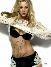"Kaley Cuoco Autographed 11"" x 14"" Shirt Off Photograph - PSA/DNA"