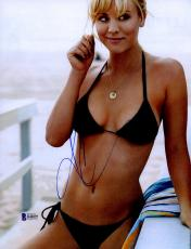 "Kaley Cuoco Autographed 8"" x 10"" Posing in Bikini Photograph - Beckett COA"