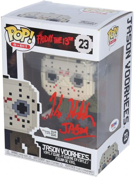 "Kane Hodder Friday the 13th Autographed 8-bit Jason Vorhees #23 Funko Pop! with ""Jason"" Inscription - PSA"