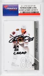 Patrick Kane Chicago Blackhawks Autographed 2011 Upper Deck Sp #38 Card with 2 X SC Champ Inscription