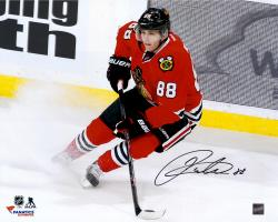 "Patrick Kane Chicago Blackhawks Autographed 16"" x 20"" Red Jersey Stopping Photograph"