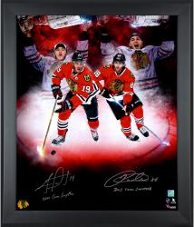 "Jonathan Toews & Patrick Kane Chicago Blackhawks Framed Autographed 20"" x 24"" In Focus Photograph with Conn Smythe Inscription-#88 of a Limited Edition of 88"