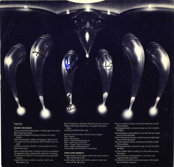 Kansas Autographed X4 Signed Album Sleeve Insert UACC RD COA AFTAL