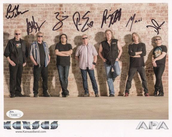 KANSAS HAND SIGNED 8x10 COLOR PHOTO        RARE         SIGNED BY ALL 7      JSA