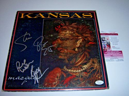 Kansas Masque 4/signatures Jsa/coa Signed Lp Record Album