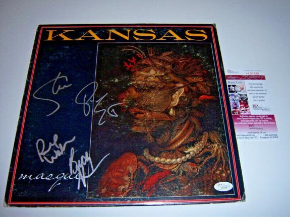 Kansas Masque Steve Walsh 4/signatures Jsa/coa Signed Lp Record Album