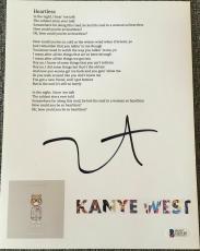 """Kanye West Signed Autograph """"heartless"""" New Custom Lyric & Art Sheet Beckett Coa"""