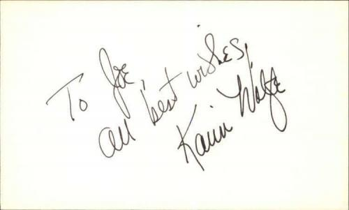 "KARIN WOLFE DAYS OF OUR LIVES Signed 3""x5"" Index Card"