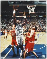 """Karl Malone Utah Jazz Autographed 16"""" x 20"""" Layup Photograph"""
