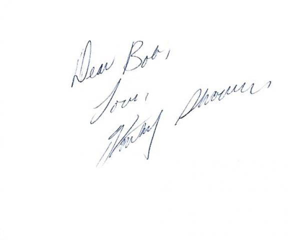 KATHY SHOWER -MODEL/ACTRESS- PLAYBOY'S PLAYMATE of the Month for MAY 1985 and PLAYMATE of the Year 1986 (Inscribed to a Fan) Signed 6x4 Index Card
