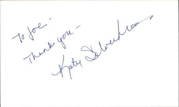 """KATY SELVERSTONE SEINFELD Signed 3""""x5"""" Index Card"""