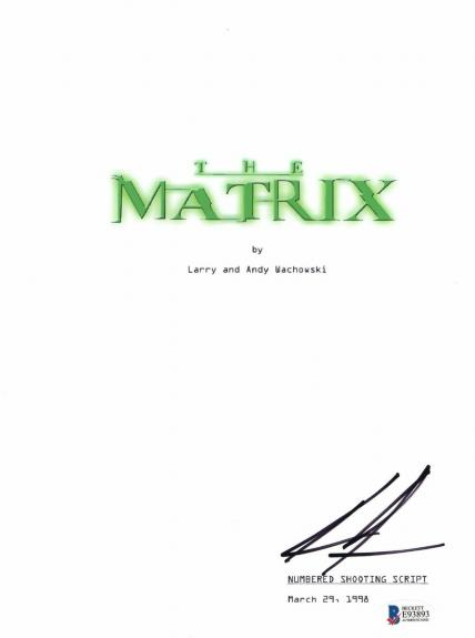 Keanu Reeves Signed Autographed The Matrix Full Movie Script Beckett Bas Coa