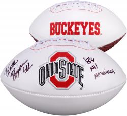 Keith Byars Ohio State Buckeyes Autographed White Panel Football with 87 All American Inscription