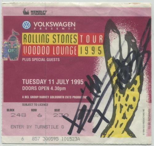 Keith Richards 1995 Rolling Stones Signed Ticket. Voodoo Lounge Tour - Wembley Stadium - JSA